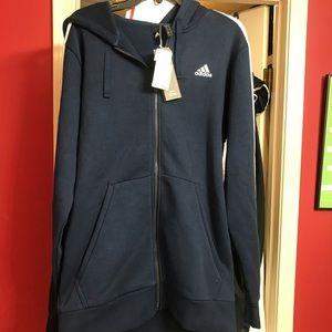 Adidas Navy Blue Hooded Jacket, Sz LT